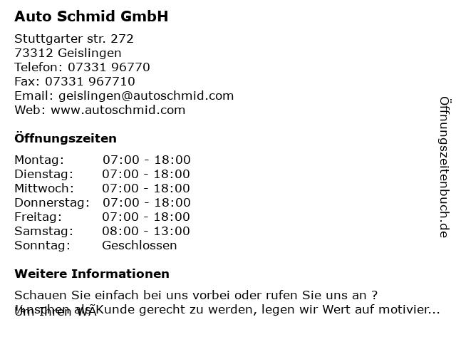 Auto Schmid GmbH in Geislingen: Adresse und Öffnungszeiten
