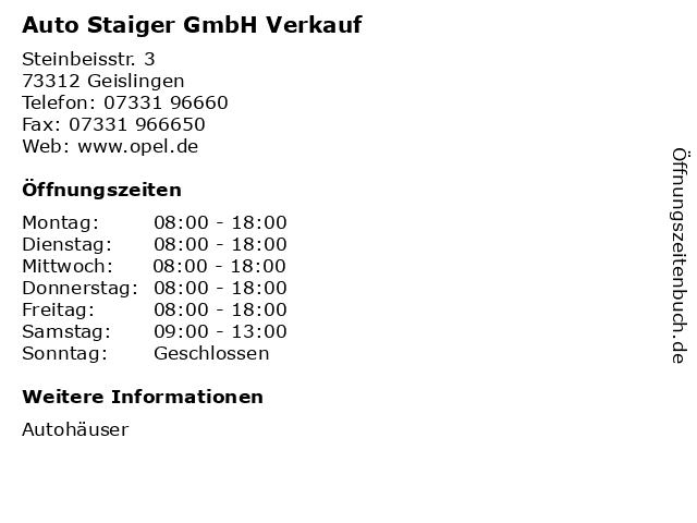 Auto Staiger GmbH Verkauf in Geislingen: Adresse und Öffnungszeiten