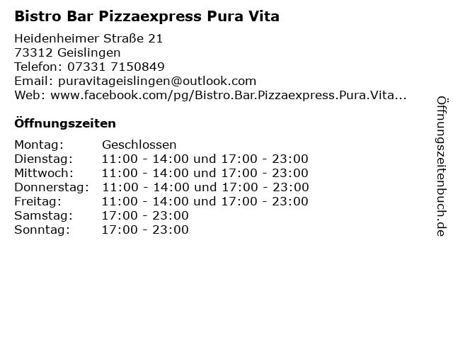Bistro Bar Pizzaexpress Pura Vita in Geislingen: Adresse und Öffnungszeiten