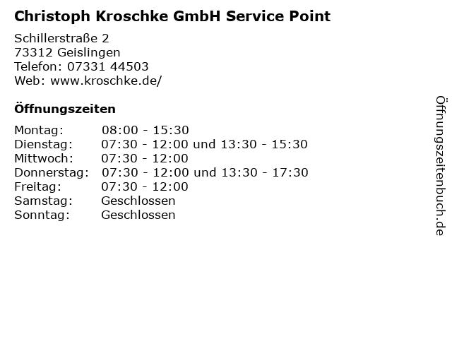Christoph Kroschke GmbH Service Point in Geislingen: Adresse und Öffnungszeiten