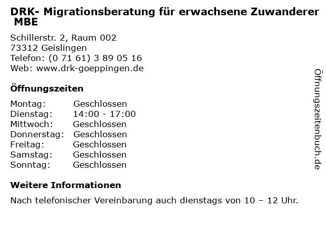DRK- Migrationsberatung für erwachsene Zuwanderer MBE in Geislingen: Adresse und Öffnungszeiten