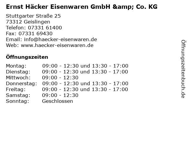 Ernst Häcker Eisenwaren GmbH & Co. KG in Geislingen: Adresse und Öffnungszeiten