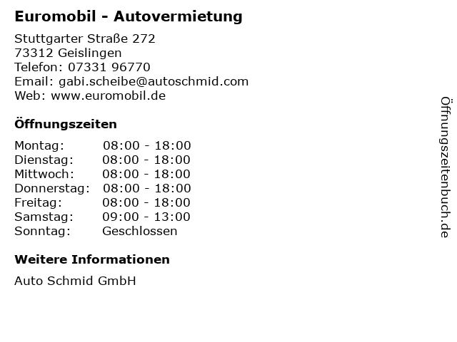 Euromobil - Autovermietung in Geislingen: Adresse und Öffnungszeiten