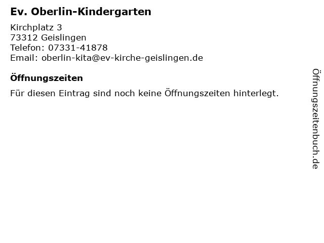 Ev. Oberlin-Kindergarten in Geislingen: Adresse und Öffnungszeiten