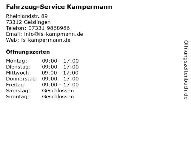 Fahrzeug-Service Kampermann in Geislingen: Adresse und Öffnungszeiten