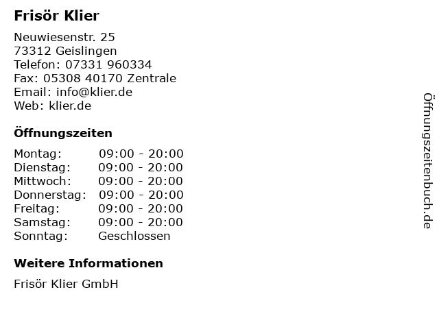 Frisör Klier in Geislingen: Adresse und Öffnungszeiten