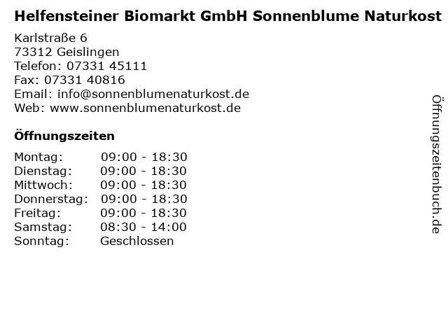 Helfensteiner Biomarkt GmbH Sonnenblume Naturkost in Geislingen: Adresse und Öffnungszeiten