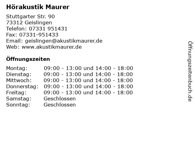 Hörakustik Maurer in Geislingen: Adresse und Öffnungszeiten