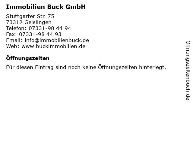 Immobilien Buck GmbH in Geislingen: Adresse und Öffnungszeiten