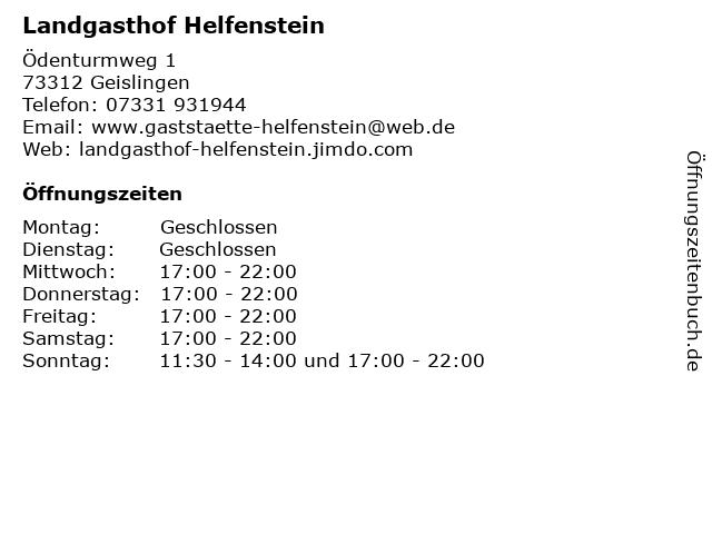Landgasthof Helfenstein in Geislingen: Adresse und Öffnungszeiten