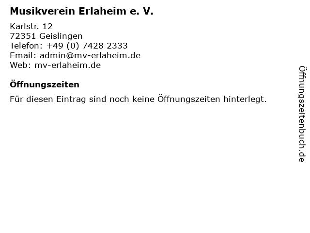 Musikverein Erlaheim e. V. in Geislingen: Adresse und Öffnungszeiten