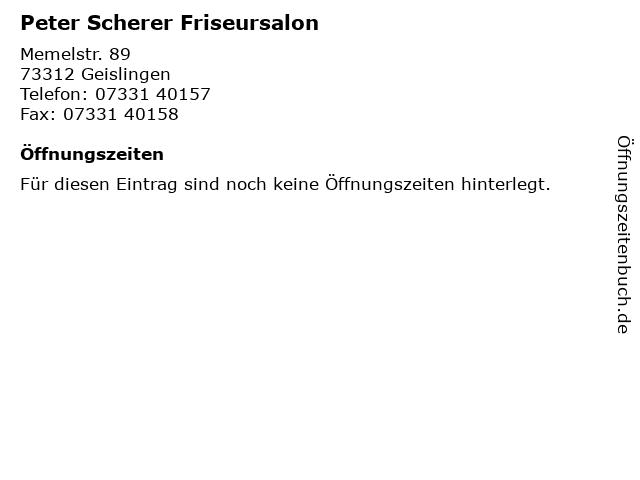 Peter Scherer Friseursalon in Geislingen: Adresse und Öffnungszeiten