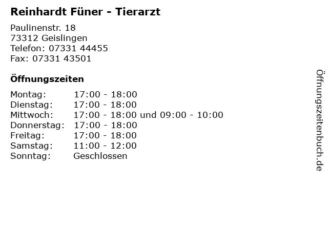 Reinhardt Füner - Tierarzt in Geislingen: Adresse und Öffnungszeiten