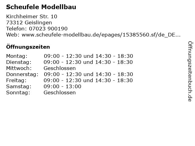 Scheufele Modellbau in Geislingen: Adresse und Öffnungszeiten