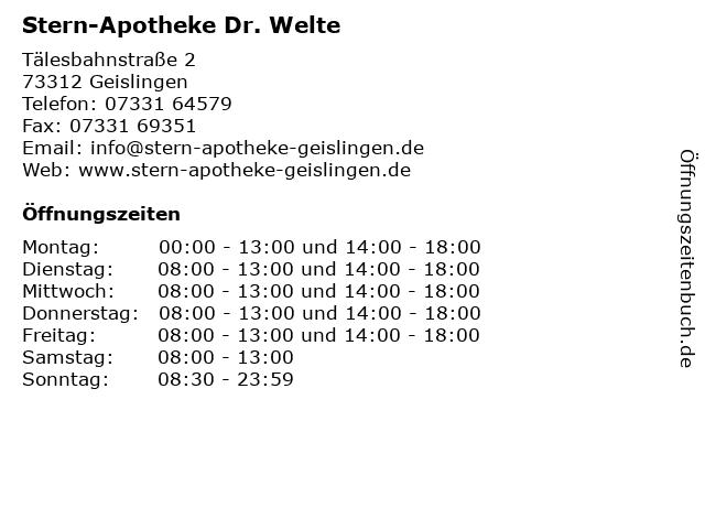 Stern-Apotheke Dr. Welte in Geislingen an der Steige: Adresse und Öffnungszeiten
