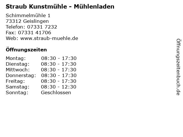 Straub Kunstmühle - Mühlenladen in Geislingen: Adresse und Öffnungszeiten