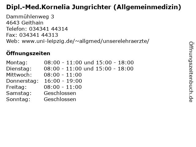 Dipl.-Med.Kornelia Jungrichter (Allgemeinmedizin) in Geithain: Adresse und Öffnungszeiten