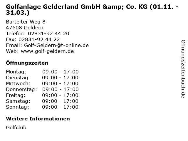 Golfanlage Gelderland GmbH & Co. KG (01.11. - 31.03.) in Geldern: Adresse und Öffnungszeiten