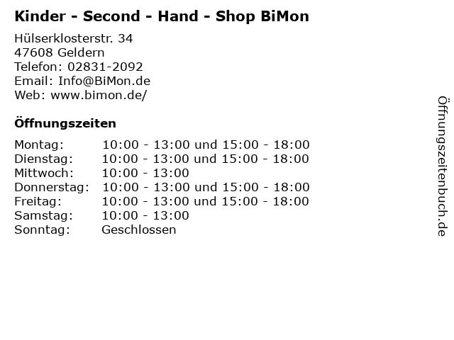 Kinder - Second - Hand - Shop BiMon in Geldern: Adresse und Öffnungszeiten