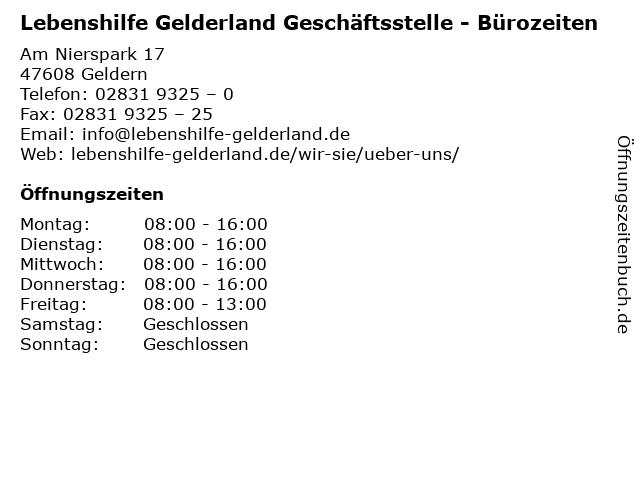 Lebenshilfe Gelderland Geschäftsstelle - Bürozeiten in Geldern: Adresse und Öffnungszeiten