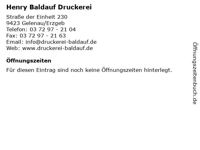 Henry Baldauf Druckerei in Gelenau/Erzgeb: Adresse und Öffnungszeiten