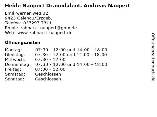 Heide Naupert Dr.med.dent. Andreas Naupert in Gelenau/Erzgeb.: Adresse und Öffnungszeiten