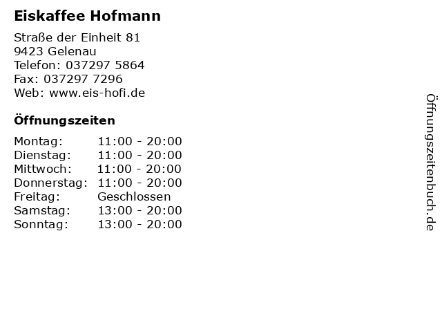 Eiskaffee Hofmann in Gelenau: Adresse und Öffnungszeiten