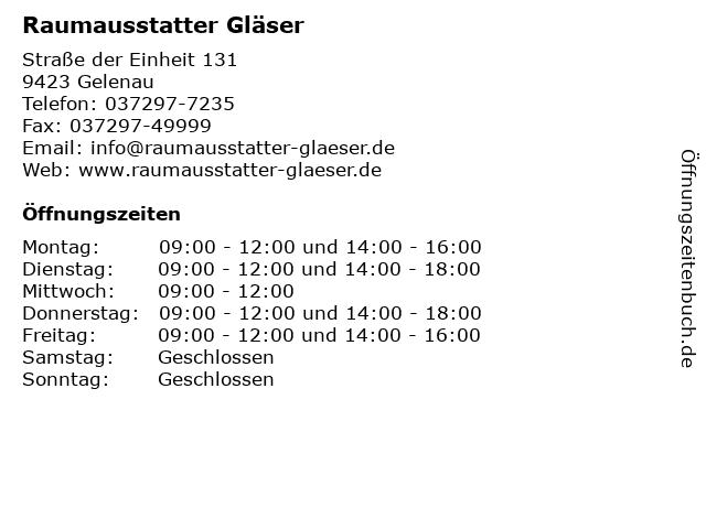 Raumausstatter Gläser in Gelenau: Adresse und Öffnungszeiten