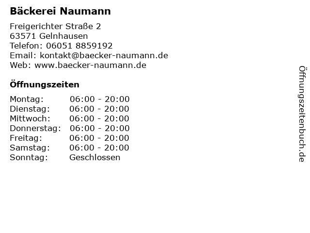 Bäckerei Wolfgang Naumann in Gelnhausen: Adresse und Öffnungszeiten