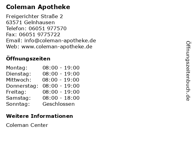 Coleman Apotheke in Gelnhausen: Adresse und Öffnungszeiten