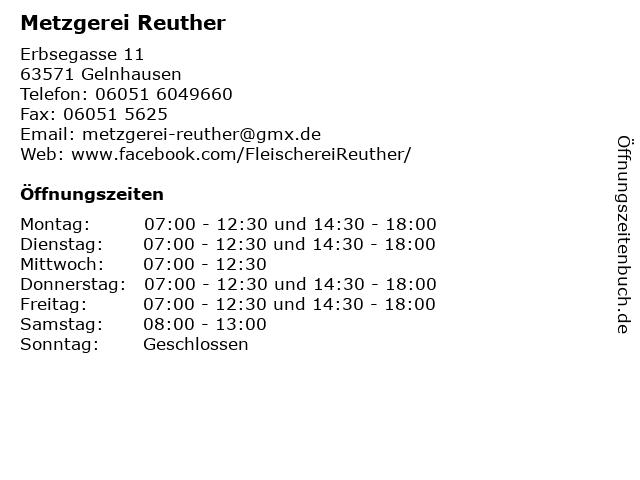 Metzgerei Reuther in Gelnhausen: Adresse und Öffnungszeiten