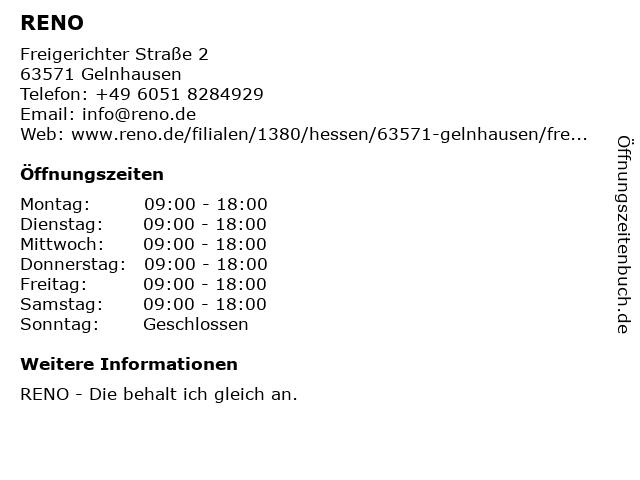 Reno Schuh GmbH - Filiale Gelnhausen in Gelnhausen: Adresse und Öffnungszeiten