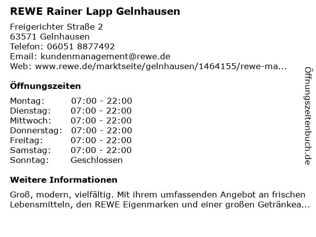 REWE Markt GmbH in Gelnhausen: Adresse und Öffnungszeiten
