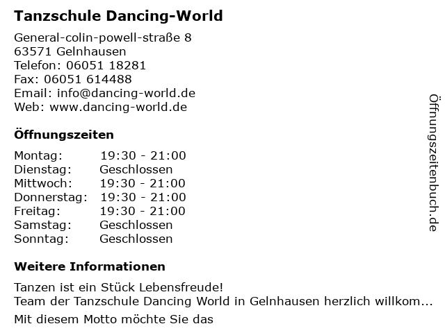 Tanzschule Dancing-World in Gelnhausen: Adresse und Öffnungszeiten