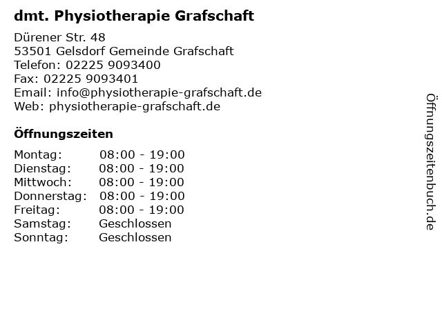 dmt. Physiotherapie Grafschaft in Gelsdorf Gemeinde Grafschaft: Adresse und Öffnungszeiten
