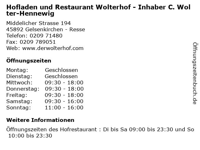 Hofladen und Restaurant Wolterhof - Inhaber C. Wolter-Hennewig in Gelsenkirchen - Resse: Adresse und Öffnungszeiten