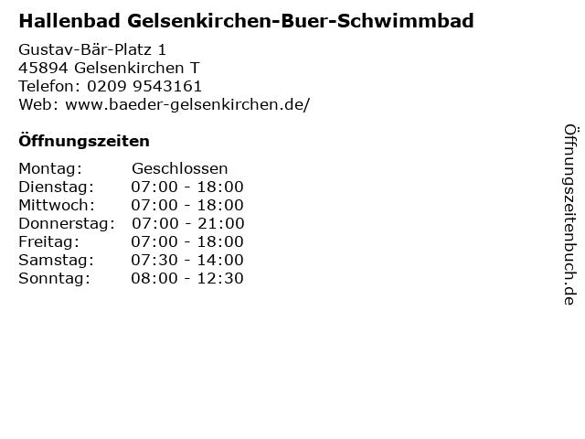 Hallenbad Gelsenkirchen-Buer-Schwimmbad in Gelsenkirchen T: Adresse und Öffnungszeiten
