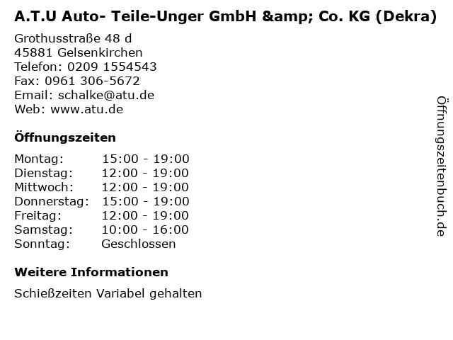 A.T.U Auto- Teile-Unger GmbH & Co. KG (Dekra) in Gelsenkirchen: Adresse und Öffnungszeiten