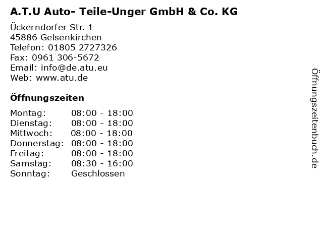 A.T.U Auto- Teile-Unger GmbH & Co. KG in Gelsenkirchen: Adresse und Öffnungszeiten