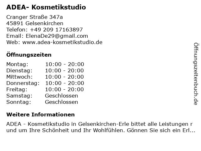 ADEA- Kosmetikstudio in Gelsenkirchen: Adresse und Öffnungszeiten
