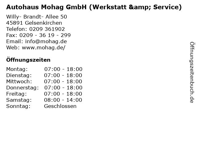 Autohaus Mohag GmbH (Werkstatt & Service) in Gelsenkirchen: Adresse und Öffnungszeiten