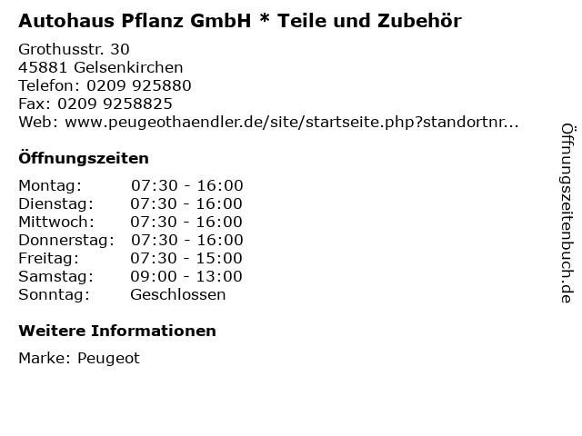 Autohaus Pflanz GmbH * Teile und Zubehör in Gelsenkirchen: Adresse und Öffnungszeiten