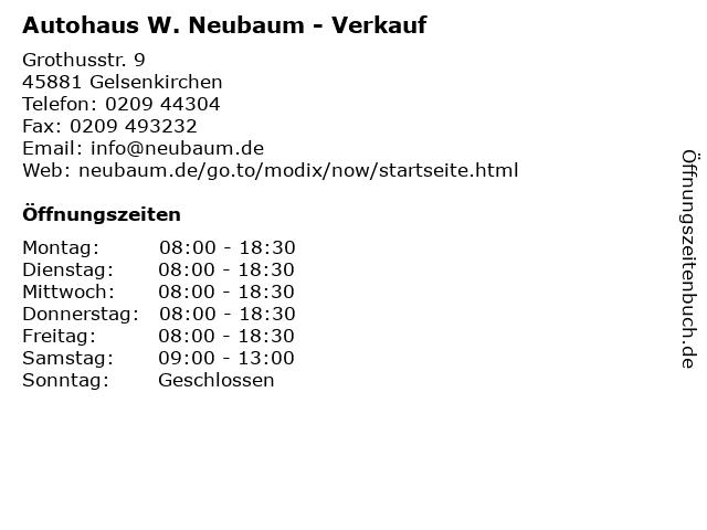 Autohaus W. Neubaum - Verkauf in Gelsenkirchen: Adresse und Öffnungszeiten