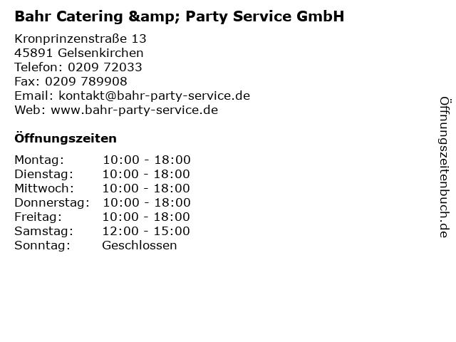Bahr Catering & Party Service GmbH in Gelsenkirchen: Adresse und Öffnungszeiten