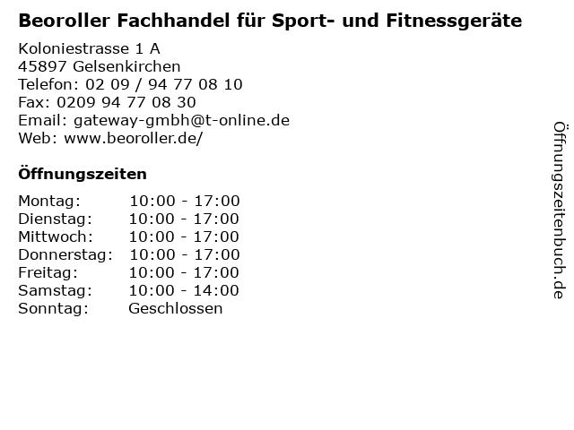 Beoroller Fachhandel für Sport- und Fitnessgeräte in Gelsenkirchen: Adresse und Öffnungszeiten