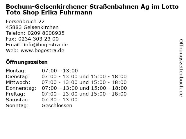 Bochum-Gelsenkirchener Straßenbahnen Ag im Lotto Toto Shop Erika Fuhrmann in Gelsenkirchen: Adresse und Öffnungszeiten
