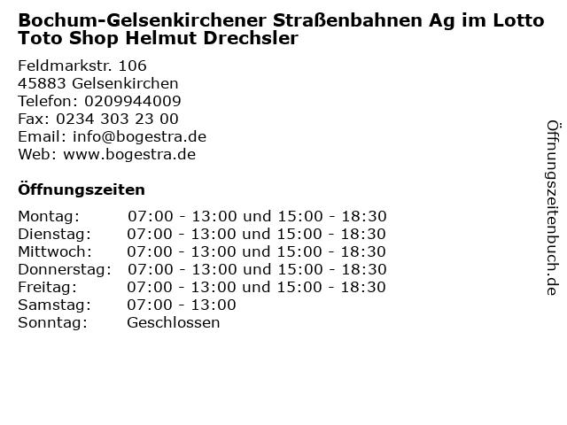 Bochum-Gelsenkirchener Straßenbahnen Ag im Lotto Toto Shop Helmut Drechsler in Gelsenkirchen: Adresse und Öffnungszeiten