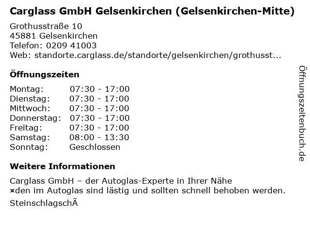 Carglass GmbH Gelsenkirchen (Gelsenkirchen-Mitte) in Gelsenkirchen: Adresse und Öffnungszeiten