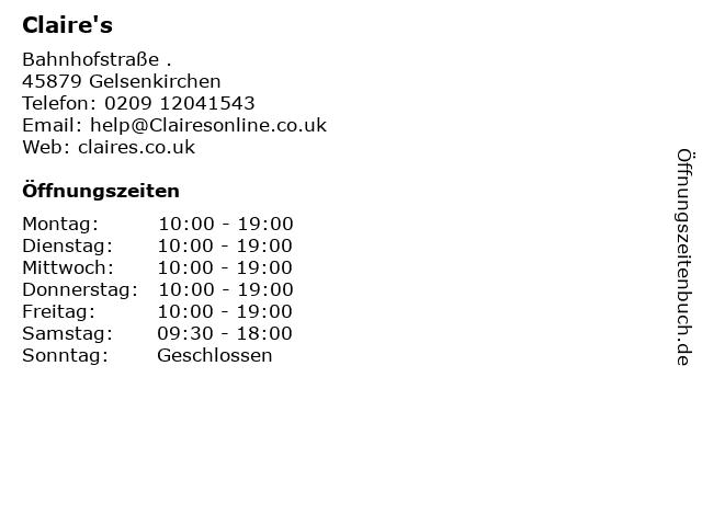 Claire's in Gelsenkirchen: Adresse und Öffnungszeiten