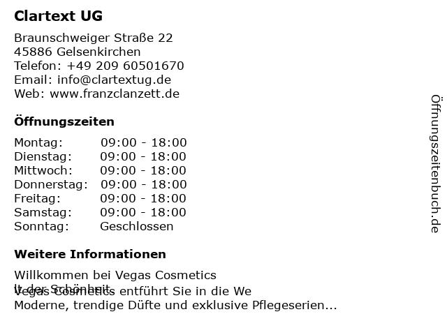 Clartext UG in Gelsenkirchen: Adresse und Öffnungszeiten